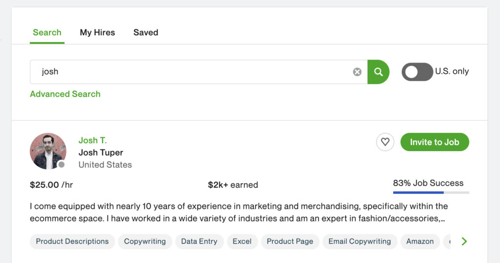 """The results for """"Josh"""" when searching using the Upwork talent search function"""